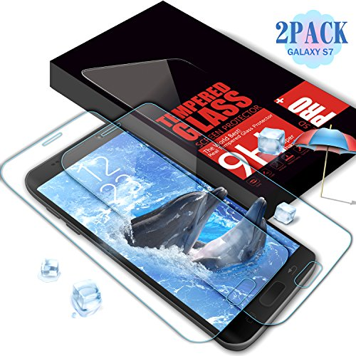 Suanna Galaxy S7 Glass Screen Protector, Full Coverage Premium 9H Tempered Glass Anti-Scratch, Clear High Definition (HD) Screen Film for Galaxy S7 [2Pack Transparent]