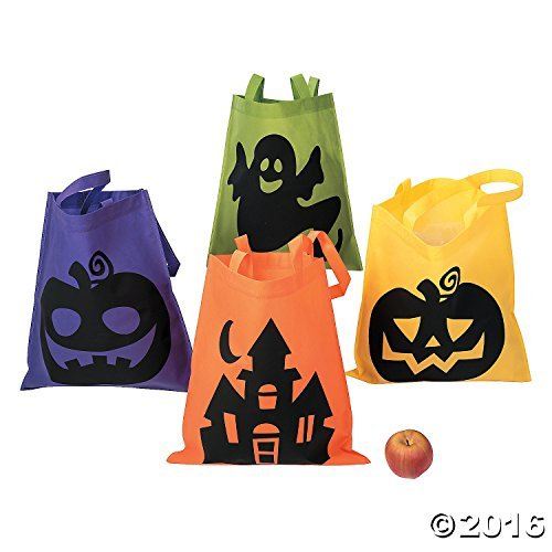 Fun Express Halloween Tote Bags - 12 Per Order - Large 16 Inch -Ionic Trick or Treat Tote Bags