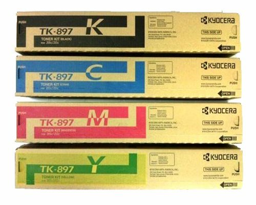 Kyocera Mita Part# TK-897C, TK-897K, TK-897M, TK-897Y Toner Cartridge Set (OEM) by Kyocera