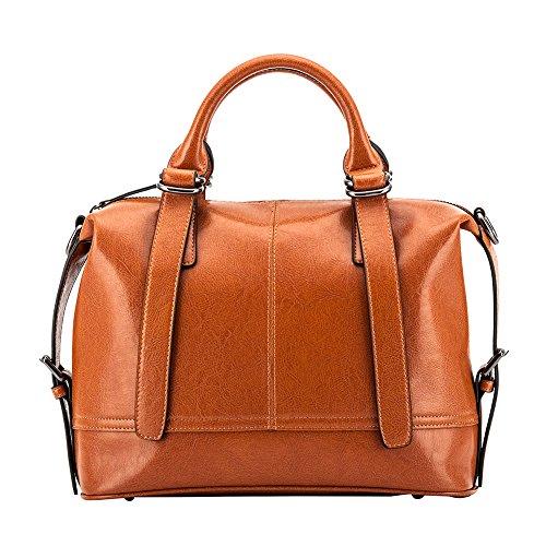 Ladies Genuine Leather Tote Purses Handbags Top Handle Pure Leather Bag Hobo Shoulder Crossbody Bags (brown) by LANGYUE