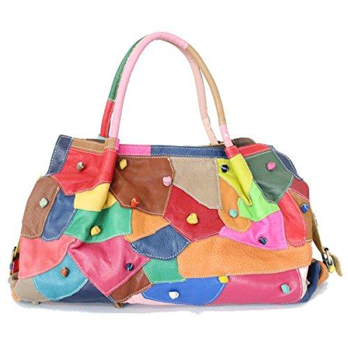Women's Handbags Fashion Handbags Personalized Handbag Shoulder Bag Stitching Bag Messenger Bag Black Leather Colored Handbag