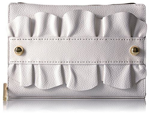 MILLY Astor Ruffle Top Zip Clutch, White