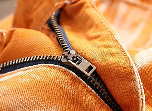 Dritti Jeans Da Orangegelb Especial Fit Pantaloni Slim In Vintage Classici Denim 5 Estilo Uomo Colori Casual Lavati E5qE4