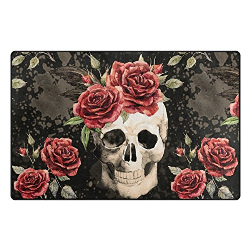 Yochoice Non-slip Area Rugs Home Decor, Vintage Retro Gothic Sugar Skull and Red Rose Floor Mat Living Room Bedroom Carpets Doormats 60 x 39 inches