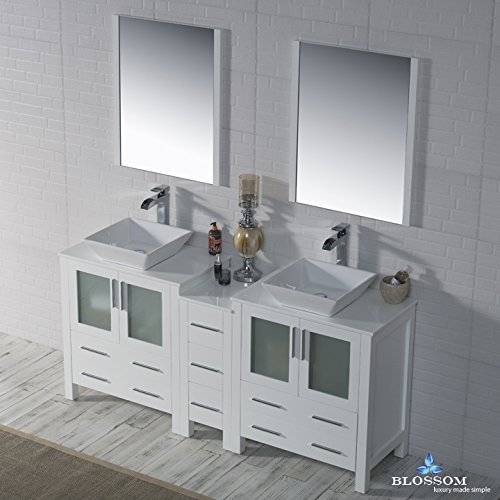 BLOSSOM 001-72-01-D-1616V Sydney 72'' Double Vanity Set with Vessel Sinks and Mirrors Glossy White