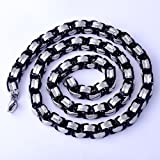 Mens White Gold FilledStainless Steel Black Link Necklace Statement