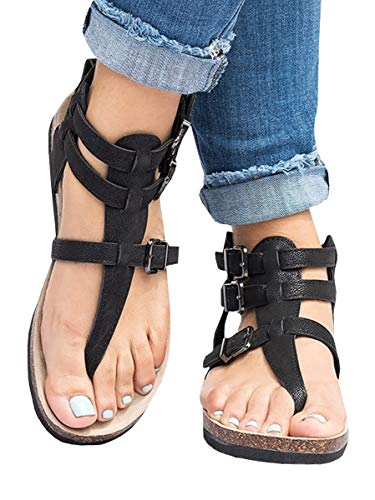 Ofenbuy Womens Gladiator Ankle Strap Sandals Flats Roman Thong Flip Flop Shoes