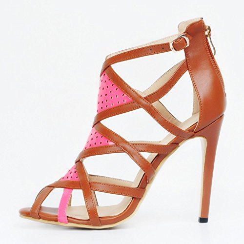 garlos Piel marrón Vestir de Para Sandalias Mujer de fO6qCcwfxr