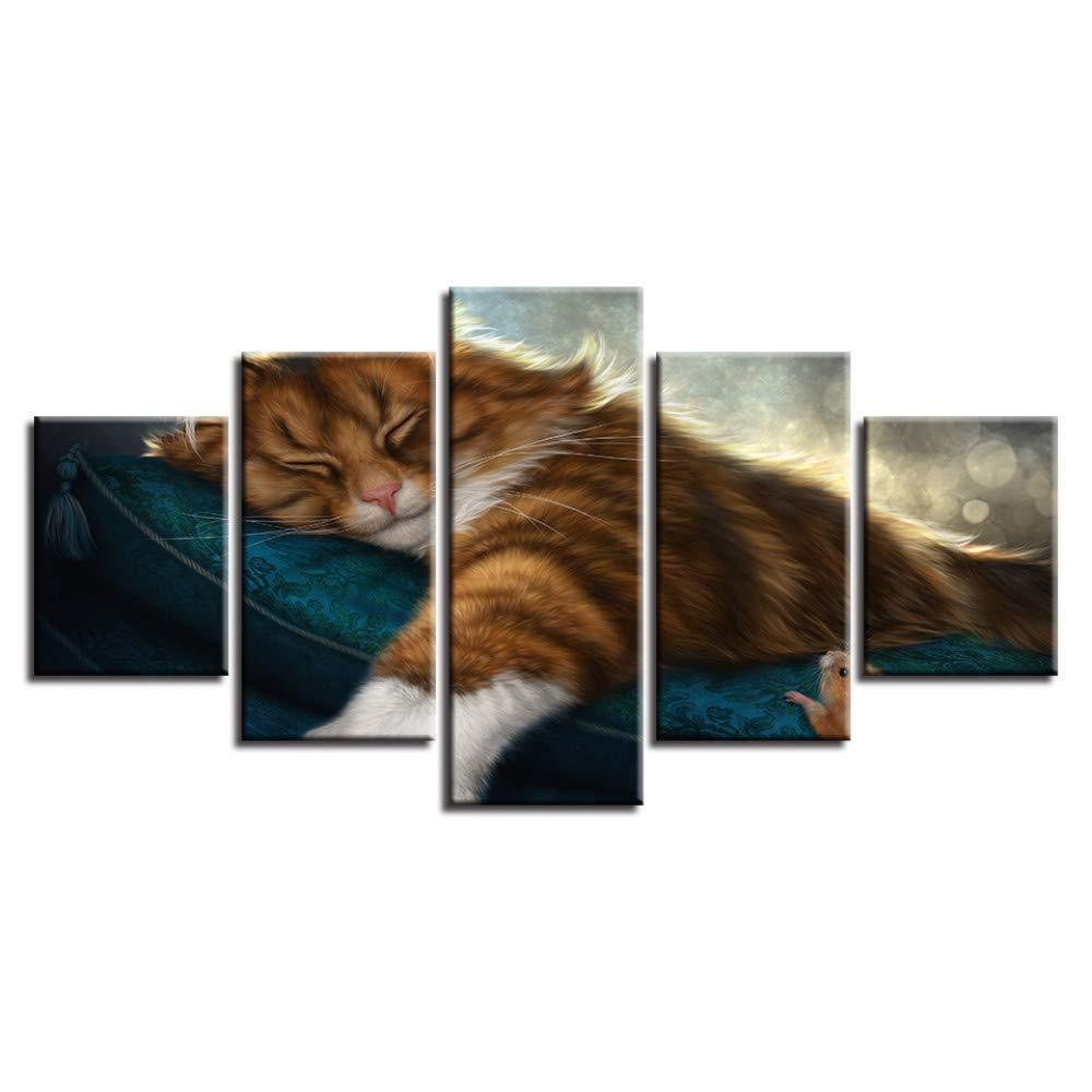 DYDONGWL HD Impreso Poster Modular Canvas En Pictures Decor 5 Unidades Animales Gatos Encantadores En Canvas Las Pinturas para Dormir Moderno Arte de La Pared   Marco 941803