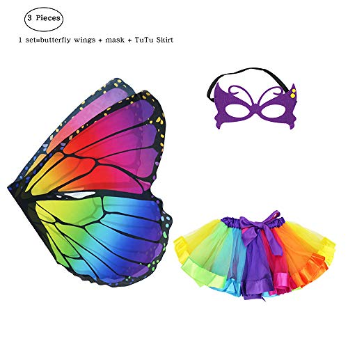 Kids Fairy Butterfly Costume Wings and Mask for Girls with Rainbow Tutu Dress Up Pretend Play Party Favors (Multicolor)