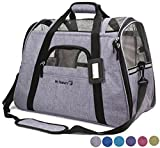 Mr. Peanut's Airline Approved Soft Sided Pet Carrier, Two-Tone Luxury Travel Tote with Fleece Bedding, New Design, Under Seat Compatability, Perfect for Cats and Small Dogs (Platinum Gray)