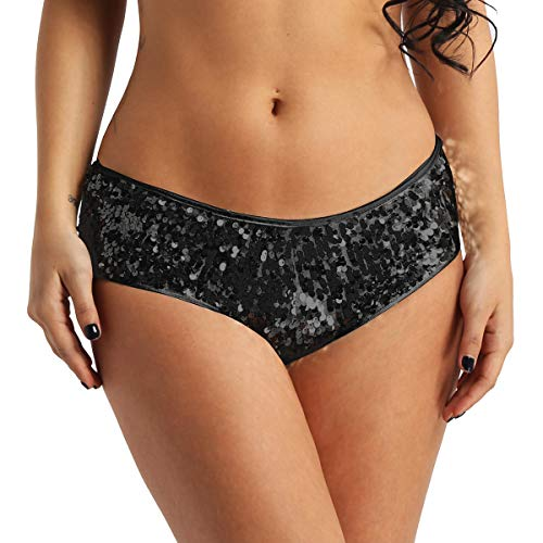 YONGHS Women's Dazzling Glittery Sequins Booty Shorts Gem Festival Rave Dance Bottoms Club Wear Black Medium (Waistline 27.5-34.0