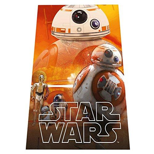 BB-8 Droid - STAR WARS - Kuschel-Decke / Fleecedecke / Auto-Kuscheldecke - 100 x 150 cm - Tagesdecke + 16 Star Wars Sticker