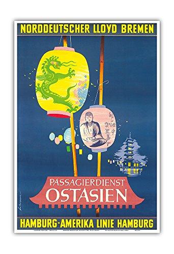 Pacifica Island Art East Asia - Norddeutscher Lloyd Bremen - Passengers - Hamburg-American Line, HAPAG - Vintage Ocean Liner Travel Poster by Fritz Schoppe c.1962 - Master Art Print - (Bremen Ocean Liner)