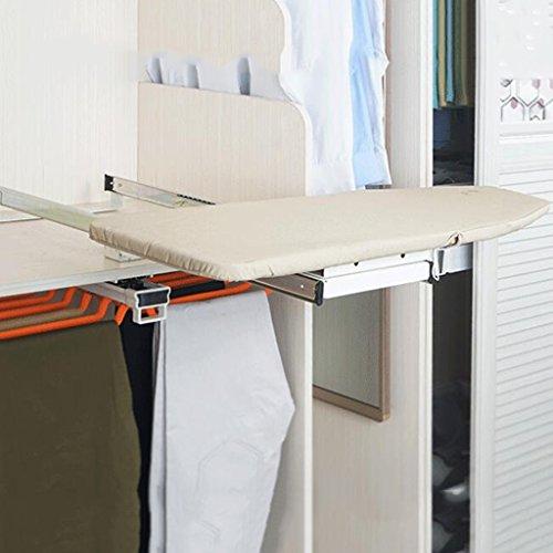 Acier / Bois / ABS En Plastique / Toile Pliable Planche À Repasser Vestiaire Cabinet Caché Cintre Push-pull Rotation De 90 ° Palette De Fer Support De Planche À Repasser 82 * 31cm