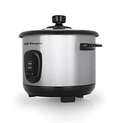 400 W of Power Stainless Steel Body Orbegozo CO 3025 Non-Stick Aluminium Pot Tempered Glass Lid Rice Cooker and Steamer 1 Litre Capacity