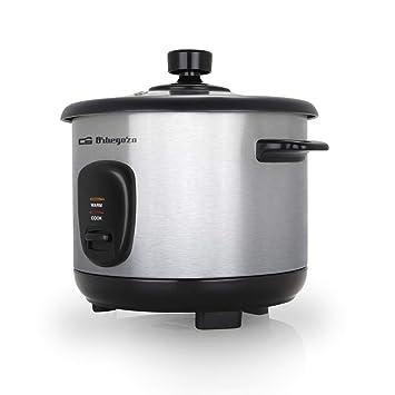 Orbegozo CO 3025 - Arrocera y vaporera 1 litro de capacidad, cuerpo de acero inoxidable, olla de aluminio antiadherente, tapa de cristal templado, 400 ...