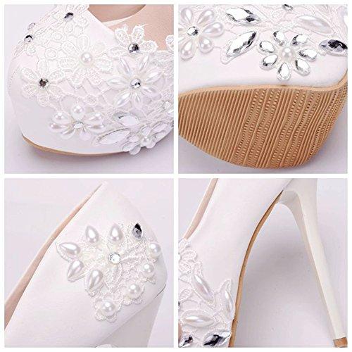 Braut Abend Diamond Peal Plattform Hochzeit Größe 40 Bis Stöckelabsatz 35 MSFS Party Damenschuhe amp; TX8xwTnIt