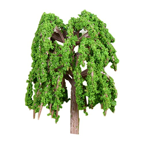 Vosarea Miniature Model Trees Fairy Garden Landscape Plant Weeping Willow Tree Model Train Scenery DIY Craft Garden Ornament (Small)