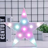 3D Colorful Star LED Lamp Decorative Marquee Signs Letter Star Night Light Wall Decoration for Living Room,Bedroom,Home, Christmas (Battery Operated) (Colorful Star)