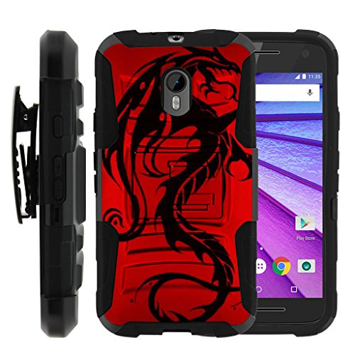 TurtleArmor | Motorola Moto G 3rd Gen Case (2015) | XT1548 | XT1540 [Hyper Shock] Hybrid Dual Layer Armor Holster Belt Clip Case Kickstand - Red Dragon (Mobile Moto Boost G Cases)