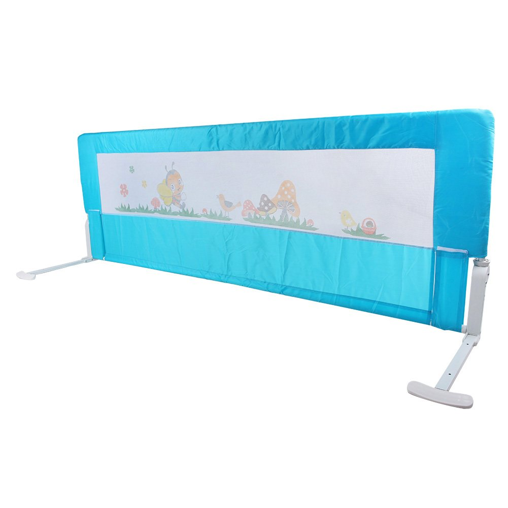 Bed Rail for Baby, Portable Folding Bed Rail Single Bed Guard Safety Protection Guard for Toddler Baby and Children, 180 x 64 cm (180 cm, Blue) Greensen