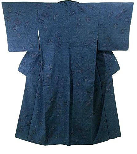 リサイクル 着物 紬 丸文や松菱 正絹 袷 裄62.5cm 身丈155cm