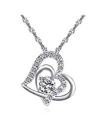 Wonvin Women 925 Silver Plated Love Double Heart Shaped White Cubic Zirconia Pendant Necklace