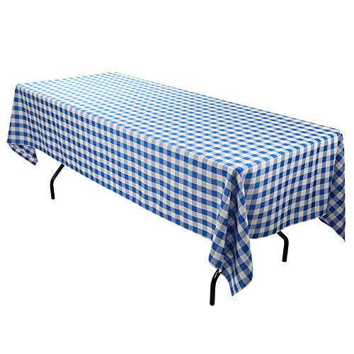 Blue Gingham Fabric (E-TEX Rectangle Tablecloth - 60 x 102 Inch - Blue and White Rectangular Table Cloth for 6 Foot Table in Washable)