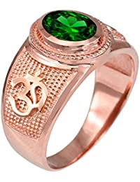 10K Rose Gold Om (Aum) Yoga May Birthstone Green CZ Ring
