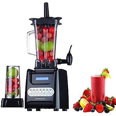 Ovente BLH1000B 1000 Watt Robust Professional Blender with BPA Free 50oz Blender Jar, Travel Mug and Tamper, Black