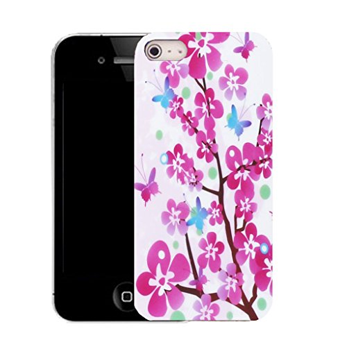 Mobile Case Mate IPhone 4 clip on Silicone Coque couverture case cover Pare-chocs + STYLET - pink floral branch pattern (SILICON)
