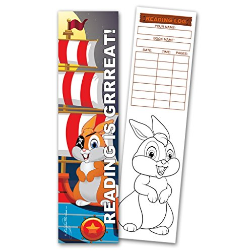 Pirate Bookmarks (30 Pirate Bunny 'Reading is Grrreat!' Coloring Bookmarks with Reading Logs)