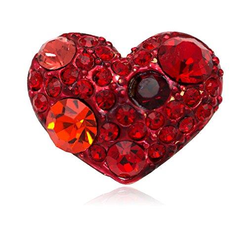 Akianna Swarovski Element Crystals Valentine Heart Small Pin Brooch Red