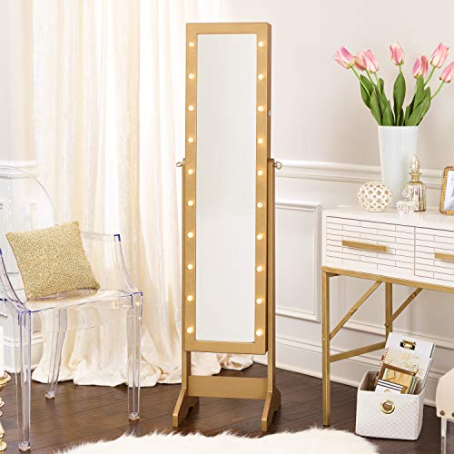 InnerSpace Luxury Products Free Standing Jewelry Armoire with LED Lights, Gold