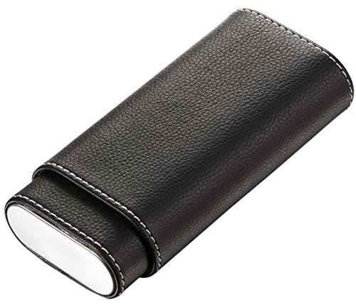Leather Hard Cigar Case - Visol Eclipse Black Leather Cigar Case