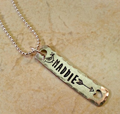 Personalized Name Necklace, Hand Stamped Pewter Pendant Rectangle Tag with Heart Cutout, Arrow and - Name Tags Mod Mom