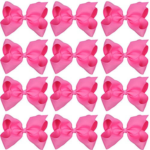 Pink Fashion Alligator (Large Boutique Hair Bows 6 Inch Cheerleading Cheerleader Cheer Bow Alligator Clips For Baby Girl Teens Women (Hot Pink))