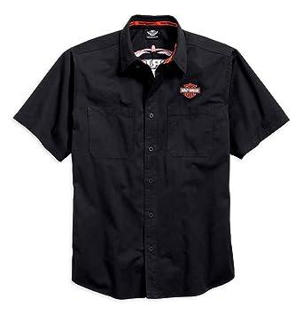 Harley Davidson Men S Pinstripe Flames Button Woven Shirt Black