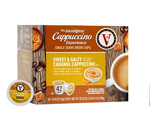 Victor Allen Coffee Sweet & Salty Caramel Cappuccino Single Serve, 42 Count (Compatible with 2.0 Keurig Brewers) by Victor Allen