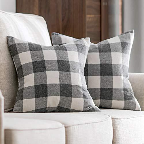 (MIULEE Pack of 2 Classic Retro Checkers Plaids Cotton Linen Soft Soild Christmas Decorative Square Throw Pillow Covers Home Decor Design Set Cushion Case for Sofa Bedroom Car 18x18 Inch 45x45 cm)