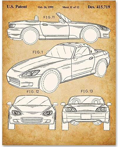 Honda S2000-11x14 Unframed Patent Print - Makes a Great Gift Under $15 for Honda Fans and Car Enthusiasts