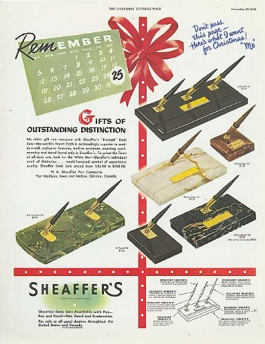 Remember Christmas Sheaffer's Pen Desk Set ad 1948