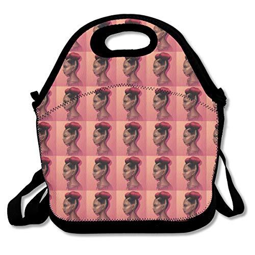 YongColer Men Women Premium Compact Lunchbox Handbag Afro African Woman Girl Art Pink Mom Bag Leakproof Insulated Interior Organizer for School Work Office Outdoor Picnic Meal Prep