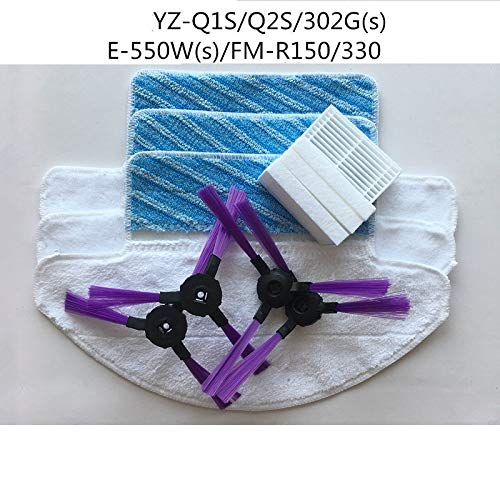 JangGun Store for Fmart E-550W(S) YZ-Q2S/Q1S/FM-R330/FM-R150/E-R302G(s) Robot Vacuum Cleaner Parts 4X Side Brush + 4X Filter + 3X mop Cloth
