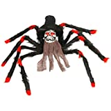 Halloween Haunters 32'' Scary Black & Red Fury Spider with Skull Head Body Prop Decoration - Creepy Flashing Red Eyes - Battery Operated