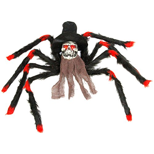 Halloween Haunters 32'' Scary Black & Red Fury Spider with Skull Head Body Prop Decoration - Creepy Flashing Red Eyes - Battery Operated by Halloween Haunters