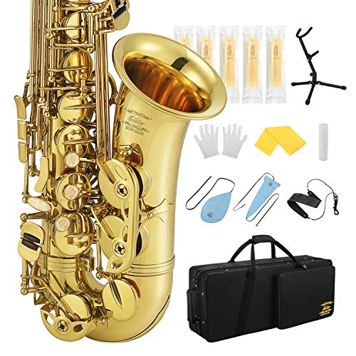 Eastar Professional Alto Saxophone E Flat AS-Ⅲ Commander Eb Saxophone Gold Full Kit With Carrying Case Mouthpiece Strap Reeds Stand Cork Grease