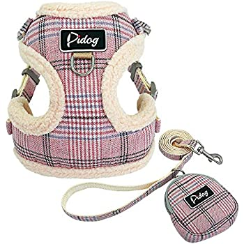 Didog Soft/Cosy Dog Vest Harness and Leash Set with Cute Bags,No Pull Escape Proof Breathable Mesh Dog Harness,Classic Plaid/Back Openable (S:Chest 13.5-15