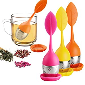 Loose Leaf Tea Infuser - Silicone Handle Tea Infuser Stainless Steel Strainer for Tea Pot, Mug - Loose Tea Steeper - Tea Diffuser for Loose Tea, Fennel Tea, Herbal Tea 3 Set - Orange/Pink/Yellow